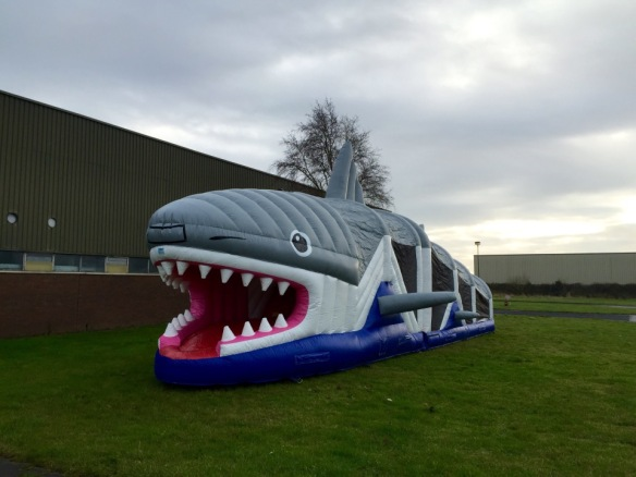 Brand New for 2015 - Shark Obstacle Course Size: 50ft x 10ft This unit is very impressive and stands out at any partyand down through the obstacles. It's fully covered with safety netting to each side for ease of supervision. Price: €120-150 Above price includes 10 free party bags and a catering table with chairs. To hire, call 087237461